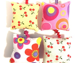 pincushion set, pillow pincushions, pincushion with loop, hanging pincushion, modern pincushion , cherry pincushions, fabric pincushion,