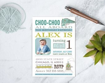 Green and Blue Vintage Train Birthday Invitation, Choo Choo Party, Choo Choo Birthday Invitation, All Aboard Invitation, DIGITAL FILE