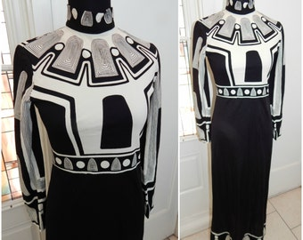 Vintage 60s Black White MOD Abstract Star Wars Maxi Dress CIRETTE California S/M