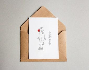 SALE Salmon Christmas Card