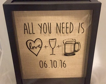 Wine Cork and Beer Cap Shadow Box, Wine Cork Holder, Wedding Gift, Bridal Shower Gift, Burlap, Customize Date and/or Add Names!