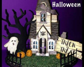 Halloween house with interior lamp-happy halloween