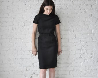 Doris dress • vintage 1960s black sheath dress • linen 60s wiggle day dress