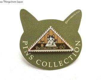 NEW Pottering Cat Writing Letter Pin, Kawaii