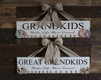 Grandkids photo display, grandkids make life grand, grandparents gift, grandkids wooden sign, custom wooden signs, picture board
