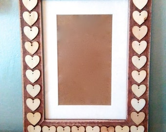 Hearts and Wooden Photo Frame