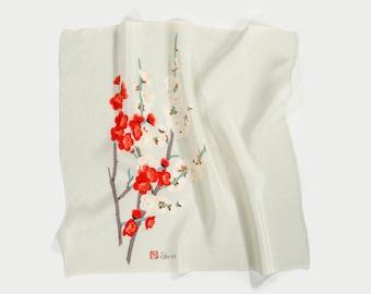 Antique Circa 1960's Printed Silk Furoshiki / Printed Silk Scarf