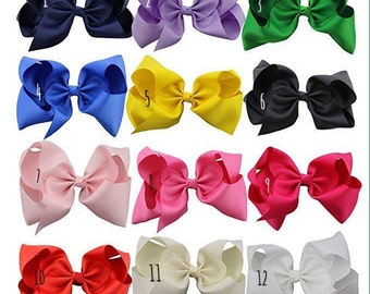 8 Inch Hair Bow, HUGE Hair Bow, Solid Color Hair Bow, Boutique Hair Bow, XL Bow, Classic Loop Bow