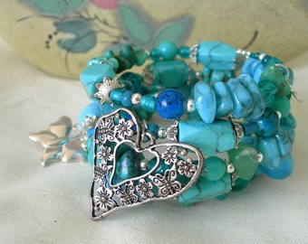 Turquoise chips and beads with silver heart