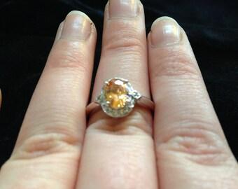 Orange Gemstone Ring Size 8