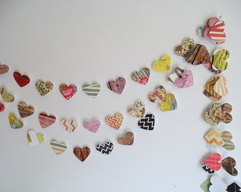 Floral heart Garland - rustic wedding Garland, rustic chevron valentine garland, floral Garland, Wood heart Garland, heart garland, wedding
