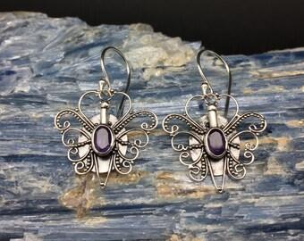 Amethyst Butterfly Earrings // 925 Sterling Silver // Hook Backing