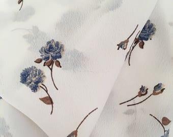 Blue Wildflower Rayon Fabric by the Yard, Rayon Yardage, Fabric Yardage, Floral Fabric