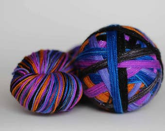 "Dyed to Order - ""Interstellar (6 color self-striping)"" - Black, Bright Blue, Gray, Periwinkle, Bright Purple, Pumpkin Orange"
