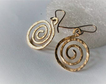 14ct gold fill spiral earrings