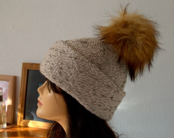 Handmade Hand Knitted Merino and Silk Wool Hat with Faux Fur Pom Pom