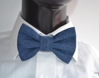 Denim Bow tie - Mens Bow tie - Child bow tie - Baby bow tie - Blue denim - Gift for men - Handmade - Bowtie - Birthday
