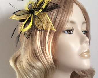 YELLOW and BLACK FASCINATOR, Sinamay petals, hackle and biot feathers, sequin detail, on clip