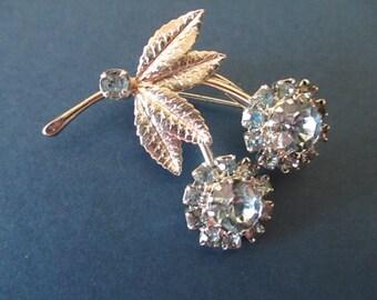 Vintage Blue Rhinestone Pin, Flower Pin, Silvertone,  Flower Brooch, vintage jewelry, 1960's jewelry, Mother's Day Gift