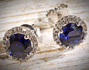 14k White Gold Ceylon Sapphire & Diamond Round Halo Style Stud Earrings September Birthstone 1.68 CTW