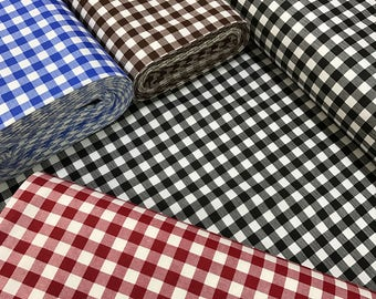 Gingham Duck Fabric 180cm 70 Extra Wide Checkered Canvas Home Decor Fabric Waterproof Blue Red Brown Black By The Yard Metre 13401
