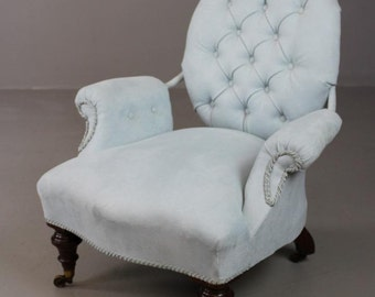 Antique Blue Upholstered Armchair