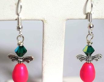 Swavorski Pearl Earrings, Angel Earrings, Cherubs, Swavorski Crystals,Hot Pink Earrings, AB Green Earrings