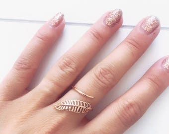 Ring gold plated leaf 750 - ring feather - gold plated ring 18 k