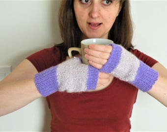 Hand Knitted Wool Gloves Hand Knit Wool mittens Women Knit fingerless gloves One size feet most Ready to ship