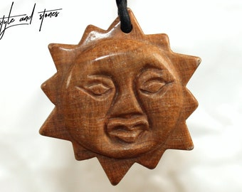 Dolomite (sun) on leather strap / cotton cord (necklace)