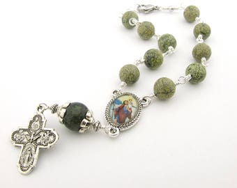 Car Rosary - Serpentine Gemstone Auto Rosary with Saint Christopher Centerpiece - Unbreakable Green Auto Rosary - Catholic Gift