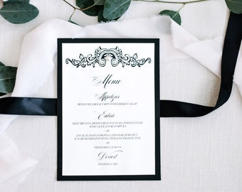 Black Tie Menu/ Reception Menu / Wedding Menu / Pearl Menu / Luxury Menu