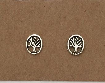 925 Silver Tree Earrings   Stud Earrings   Australia   Tree Of Life   Minimalist Jewelry   Sterling Silver   Boho   Oval   Studs  