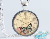 Vintage Butterfly Clock Crackled Art Pendant, vintage insect charm, old world time piece