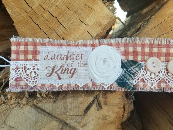 """New** """"daughter of the king """" plaid,vintage plaid,customizable, rosettes  - Vintage Fabric Cuffs,fabric cuffs"""