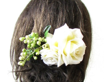 Large Ivory Rose Berry Green Leaves Flower Hair Comb Headpiece Bridal Vtg 1491
