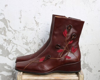 Women's Brown Leather Ankle Boots  EUR 36 UK 3,5 US 6