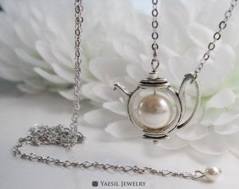 Jasmine Tea Pot Necklace: Antique Silver Tea Pot Necklace, Fable Necklace
