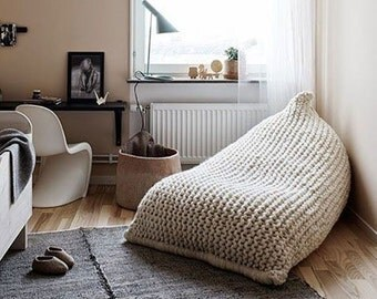 Chunky merino wool white/off white XL knitted bean bag / Adult bean bag chair / Knit bean bag / Nursery chair
