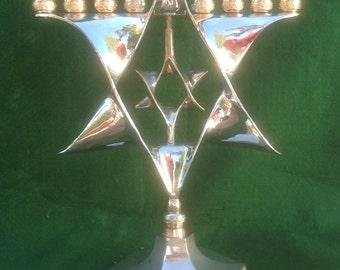 Menorah Chrome and Brass Hanukkah Judaic Nine Candles Vintage