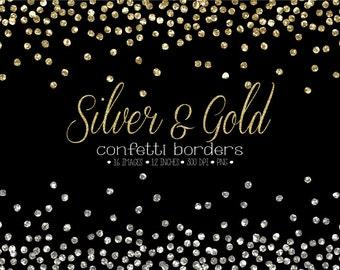 Glitter Confetti Border Clipart. Gold & Silver Confetti Frames. Metallic Christmas, New Year Confetti Glitter. Gold, Silver Confetti Overlay