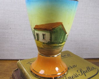 Loucarte Hand Painted Pottery Goblet - Made in Portugal - Cottage Scene