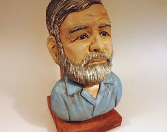 Ernest Hemingway Clay Sculpture