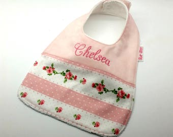 Baby/Toddler Dribble or Feeder Bib, Pretty Pink Roses on Pink Cotton Fabric, Soft Bamboo Toweling Backed, Snap Fastened, Adjustable.