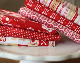 "French Fabric, Kitchen Fabric, Riley Blake  ""Ooh La La"" in Red, 6 Piece Bundle - 1/2 Yard of Each Pattern"
