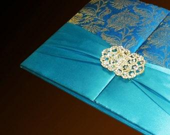 100 Personalised Luxury Silk Invitaton Boxes Silk Gate Folio Suede Boxed Invitations