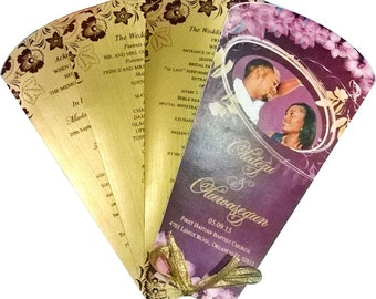 100 personalised wedding programms fan with photo cover
