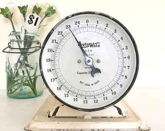 Vintage Farmhouse Kitchen Scale / Vintage Household Scale / Pedestal Scale by AutoWate