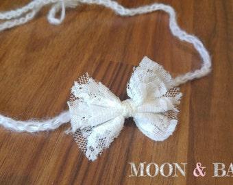 Handmade White Lace Bow Tieback Headband Newborn Photo Photography Prop