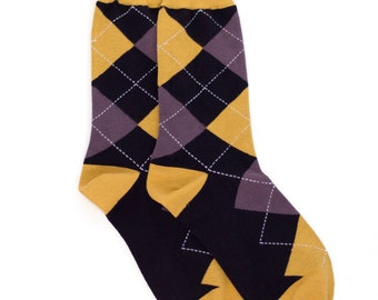 Gold Black Argyle Socks - Argyle Socks. Mens Socks. Mens Dress Socks. Wedding Socks. Groomsmen Socks. Fun Socks. Colorful Socks. Socks